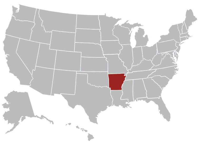 Arkansas Position in Map