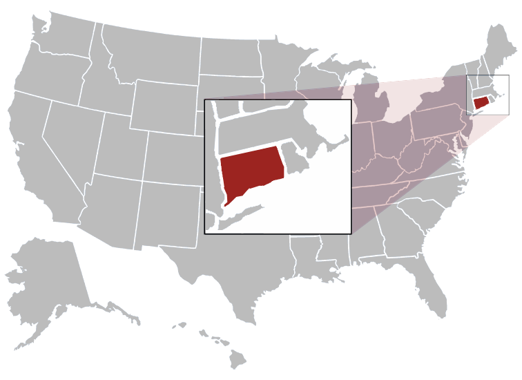 Connecticut Position in Map