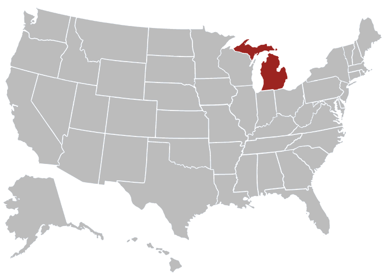 Michigan Position in Map