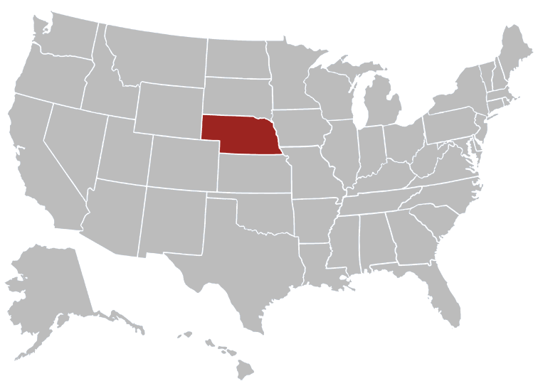 Nebraska Government Data Social Media - Nebraska on the us map