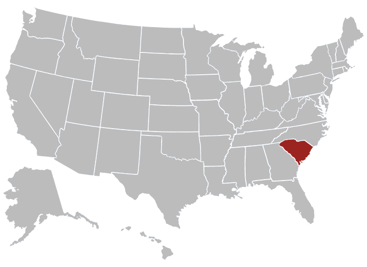 South Carolina Position in Map